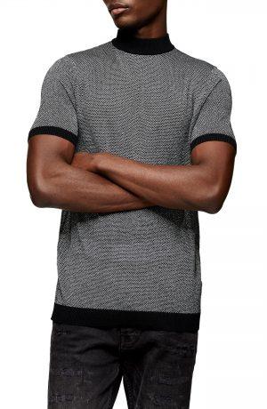 Men's Topman Metallic Thread Short Sleeve Sweater, Size Large - Metallic