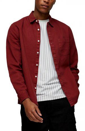 Men's Topman Slim Fit Button-Up Shirt, Size Large - Burgundy