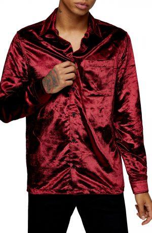 Men's Topman Slim Fit Velvet Shirt, Size Large - Burgundy