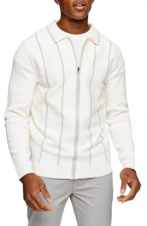 Men's Topman Stripe Zip Cardigan, Size Large - Metallic