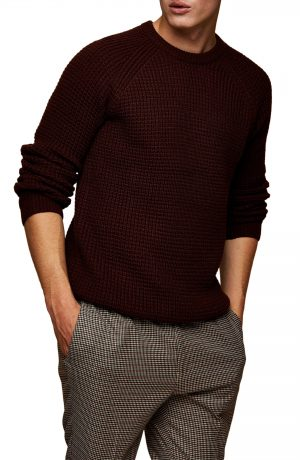 Men's Topman Waffle Crew Sweatshirt, Size Large - Burgundy