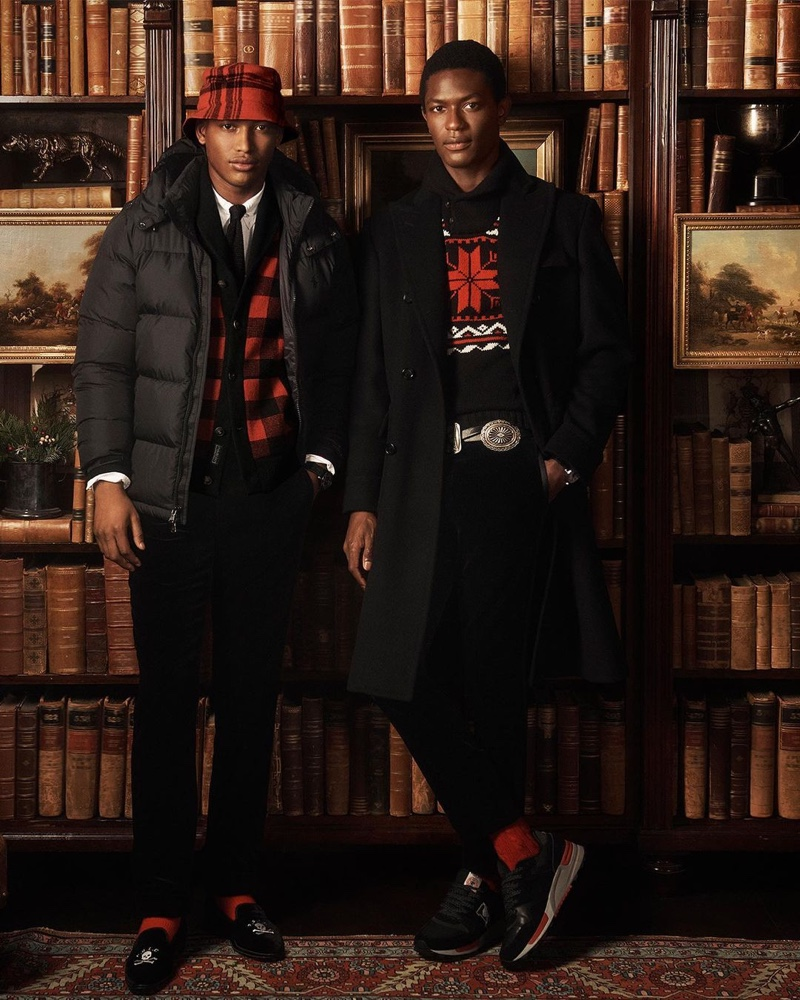 Models Timothy Lewis and Hamid Onifade wear festive looks from POLO Ralph Lauren's holiday 2020 collection.