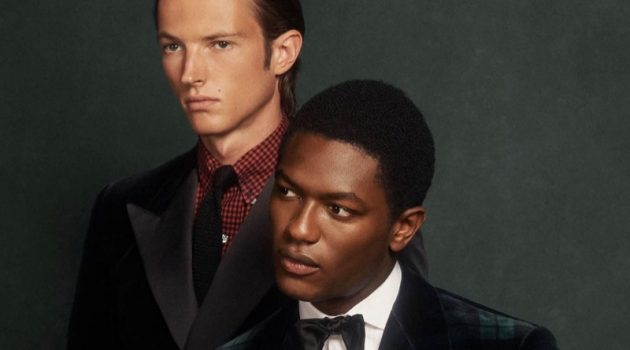 Models Abel van Oeveren and Hamid Onifade sport dashing dinner jackets from POLO Ralph Lauren.