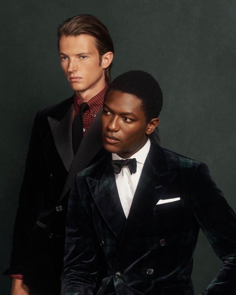 Models Abel van Oeveren and Hamid Onifade sport dashing dinner jackets from POLO Ralph Lauren.
