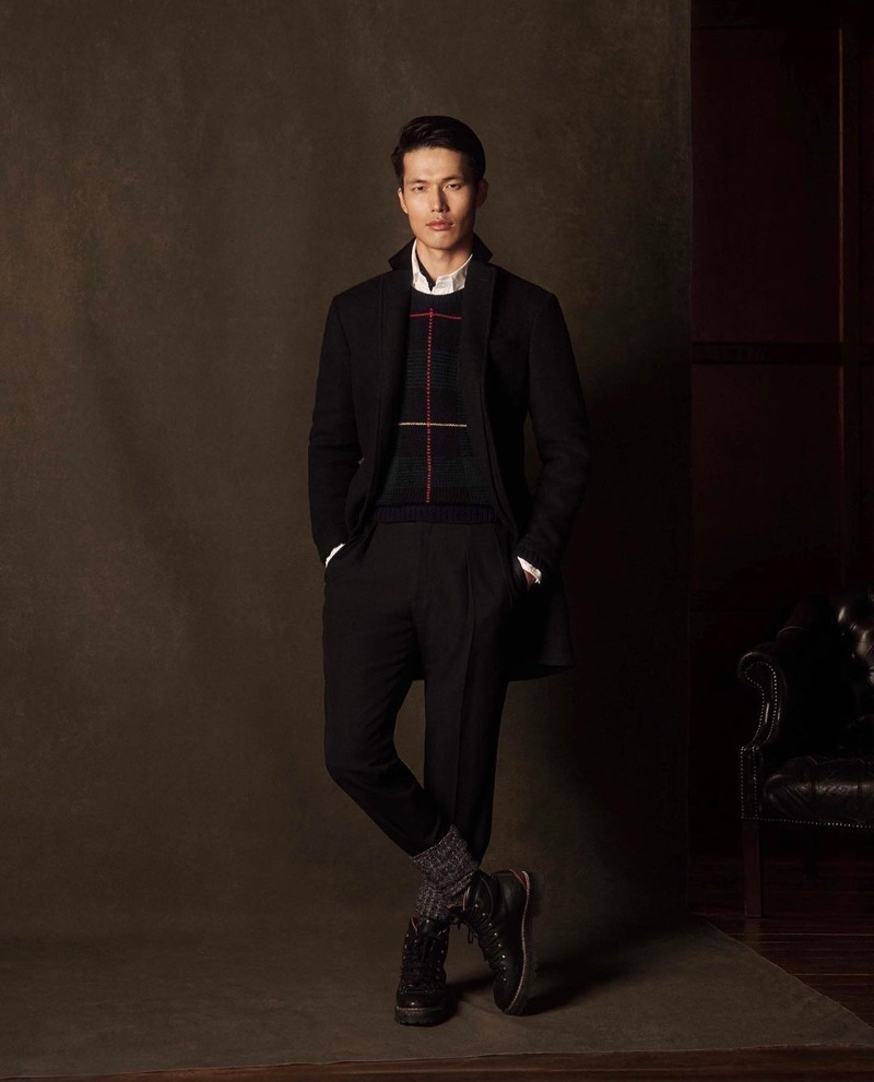 Dae Na cleans up in a smart look from POLO Ralph Lauren's holiday 2020 collection.
