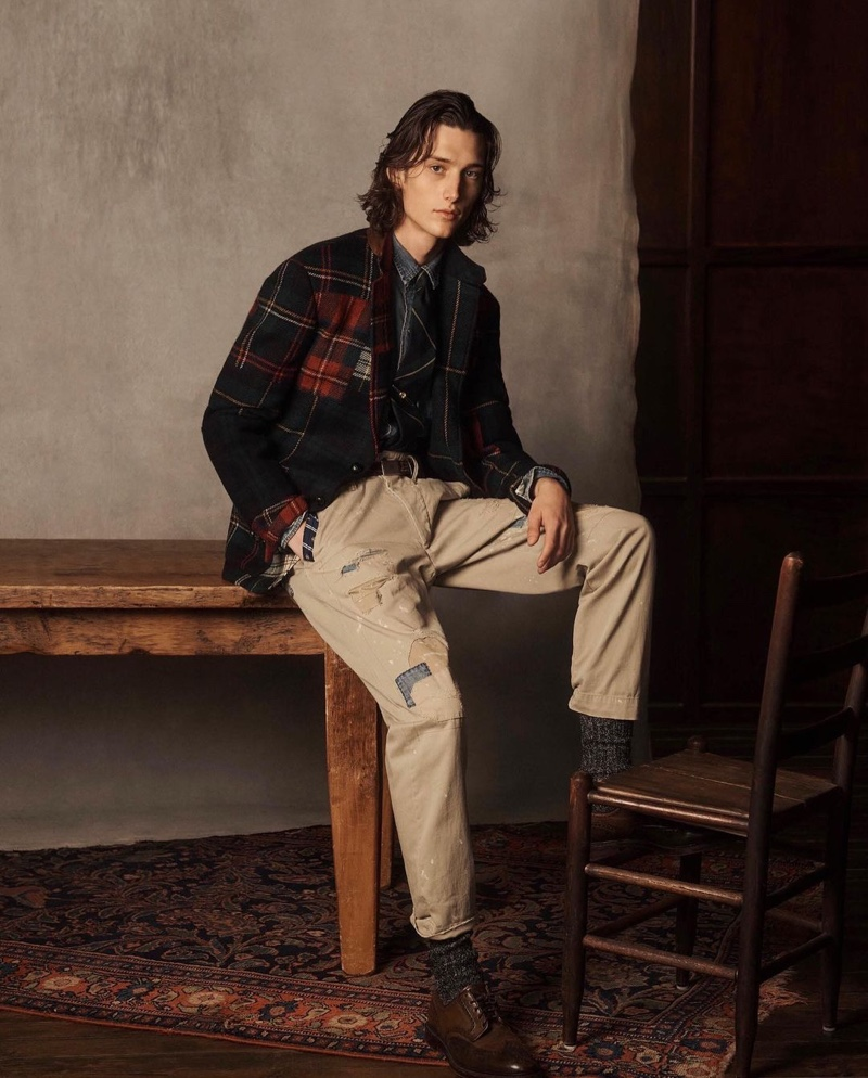 Wellington Grant connects with POLO Ralph Lauren for the holidays, sporting a casual tartan look.