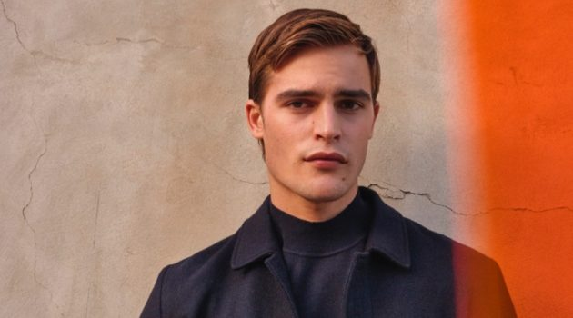 Parker van Noord dons a coat and mock neck sweater from Massimo Dutti.