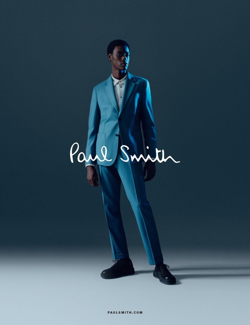 Babacar N'doye dons a sharp suit for Paul Smith's fall-winter 2020 men's campaign.