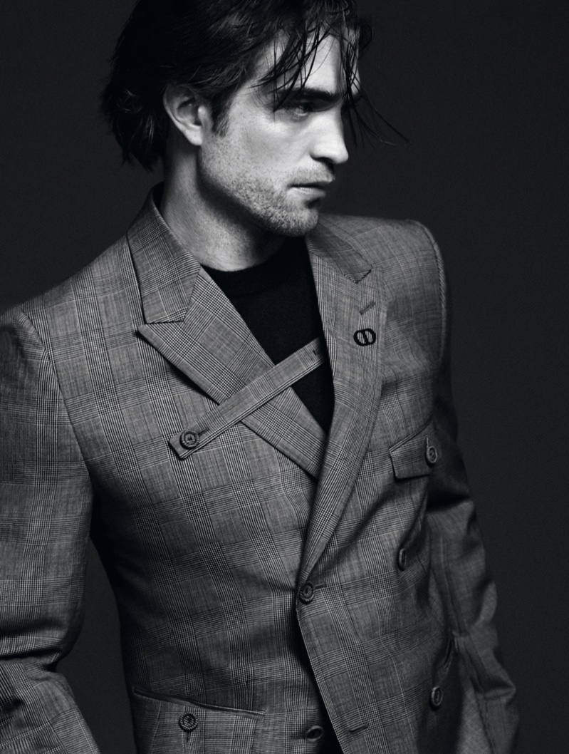 Actor Robert Pattinson sports a suit jacket from Kim Jones' Modern Tailoring collection for Dior Men.