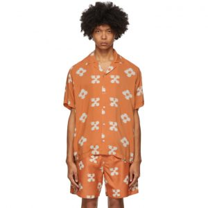 Saturdays NYC Orange Floral Canty Ikat Shirt