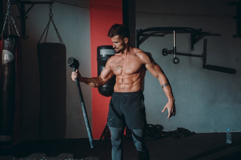 Shirtless Male Model Working Out Gym