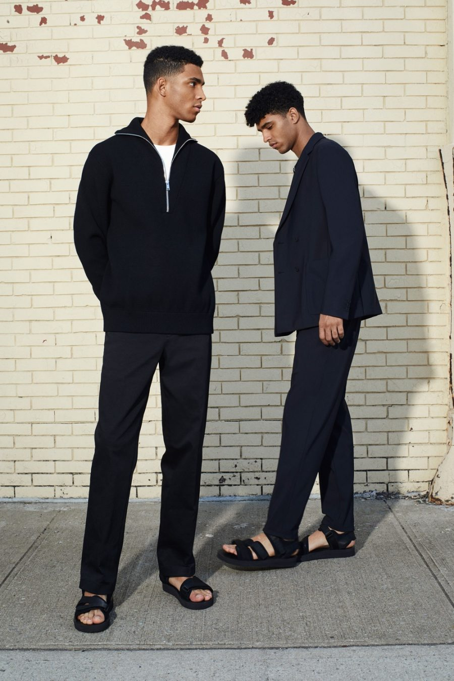 Brothers Jan Carlos and Hector Diaz wear tailored ensembles from Theory's spring-summer 2021 men's collection.