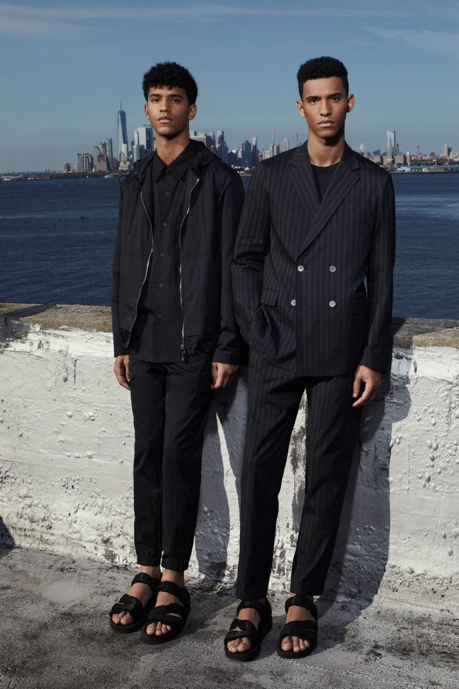 Theory delivers a polished spring-summer 2021 collection with clean lines and classic numbers like a pinstripe suit. Here, models Carlos and Hector Diaz inspire in Theory's menswear.