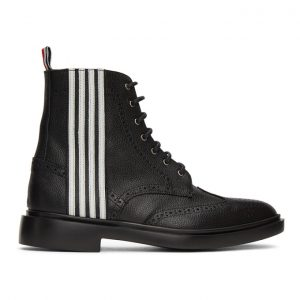 Thom Browne Black 4-Bar Wingtip Boots