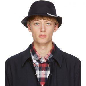 Thom Browne Navy Wool Classic 4-Bar Bucket Hat