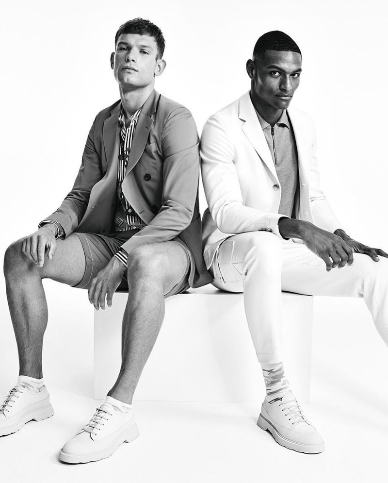 Donning leisure suits, Elliott Reeder and Shawn Golomingi front the BOSS Bodywear spring-summer 2021 men's campaign.