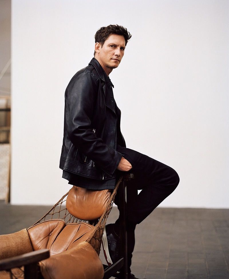 Going casual, Roch Barbot dons a leather jacket by BOSS.