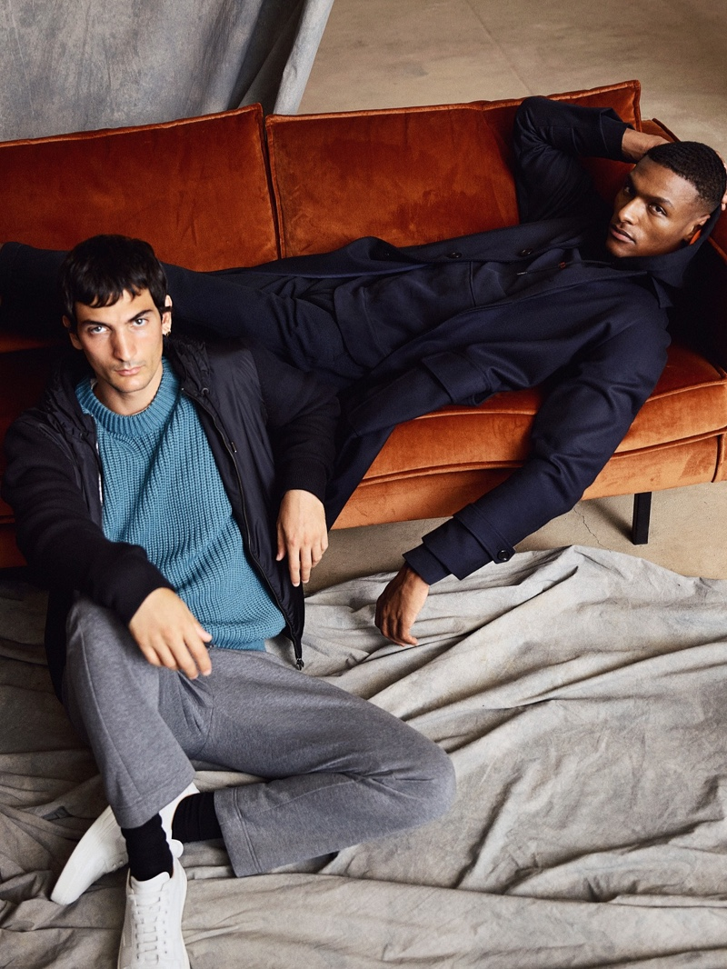 Models Luca Lemaire and Shawn Golomingi showcase casual looks from German brand BOSS.