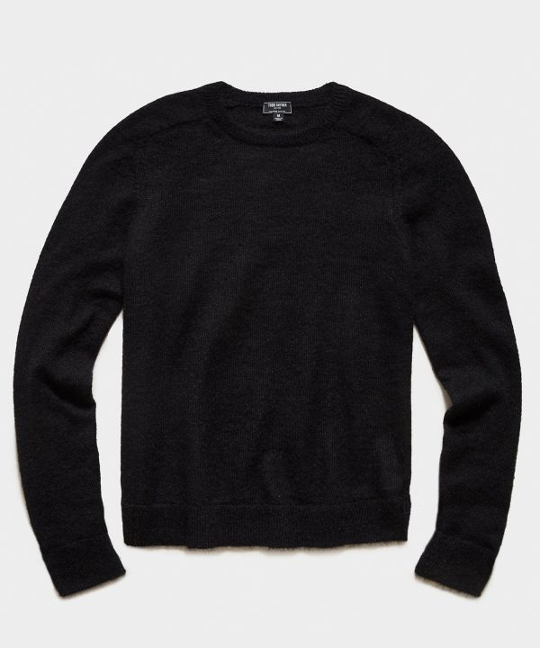 Brushed Italian Mohair Wool Sweater in Black