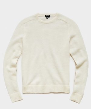 Brushed Italian Mohair Wool Sweater in Ivory