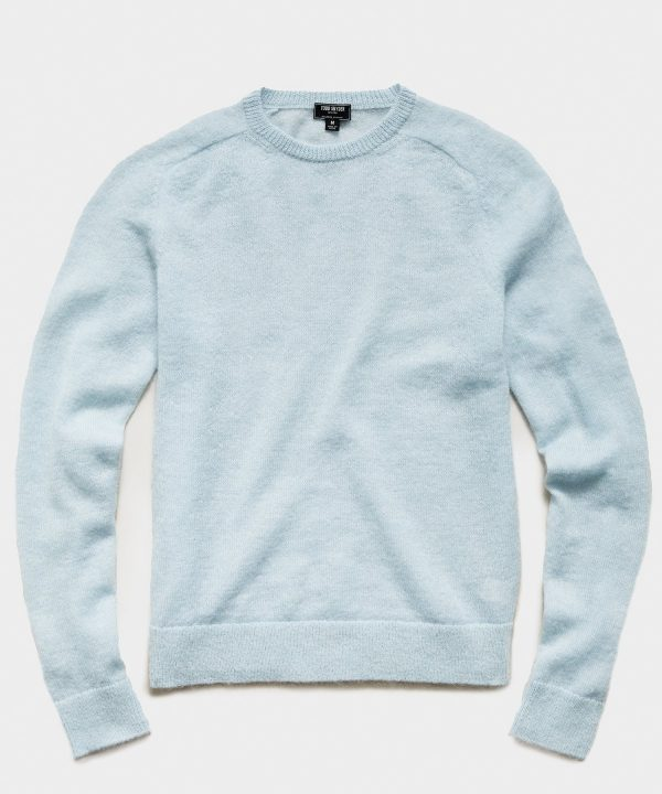 Brushed Italian Mohair Wool Sweater in Light Blue