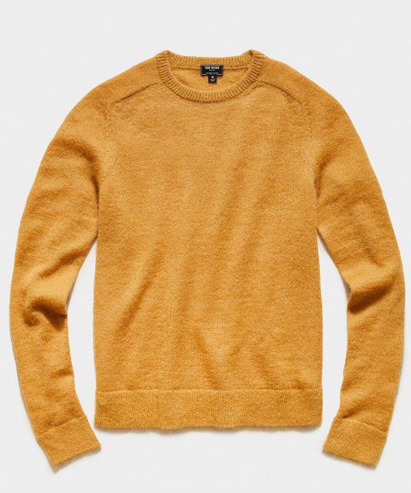 Brushed Italian Mohair Wool Sweater in Mustard