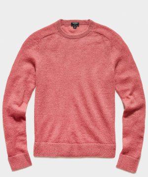 Brushed Italian Mohair Wool Sweater in Vintage Rose