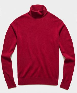 Cashmere Turtleneck in Deep Red