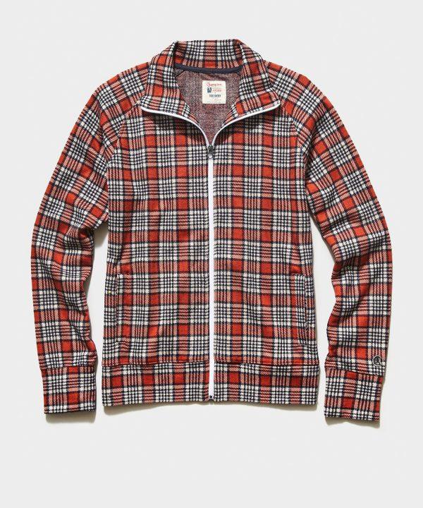 Champion Wool Orange Plaid Full Zip Track Jacket