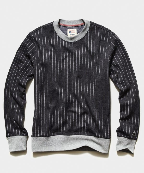 Champion Wool Pinstipe Crewneck Sweatshirt in Charcoal