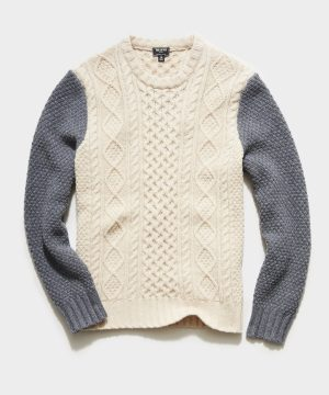 Colorblock Cable Fisherman's Sweater in Cream