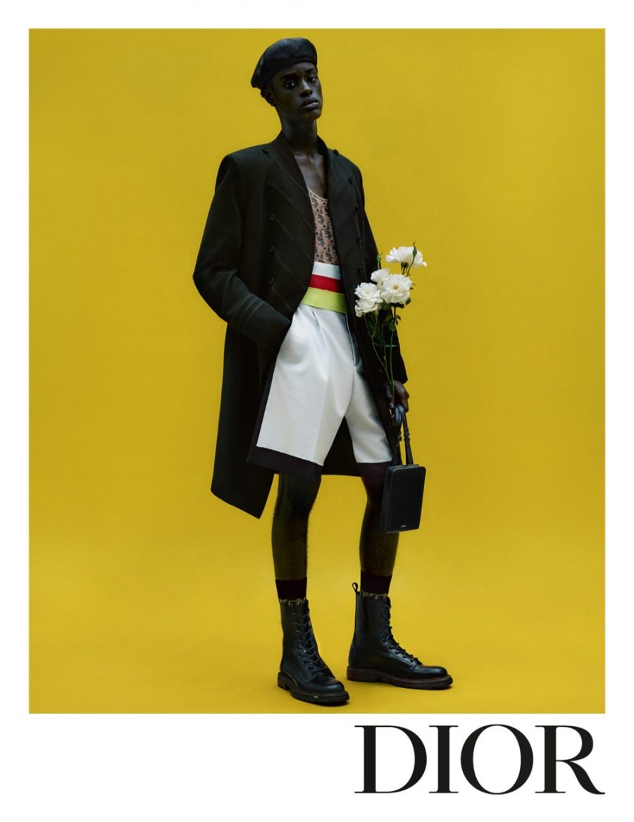 Posing for a stunning photo, Babacar N'doye appears in Dior Men's spring-summer 2021 campaign.