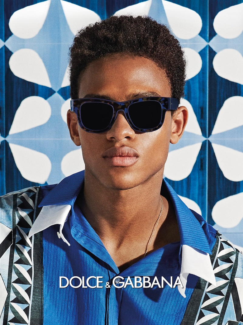 Aziz Maal is front and center for Dolce & Gabbana's spring-summer 2021 men's eyewear campaign.