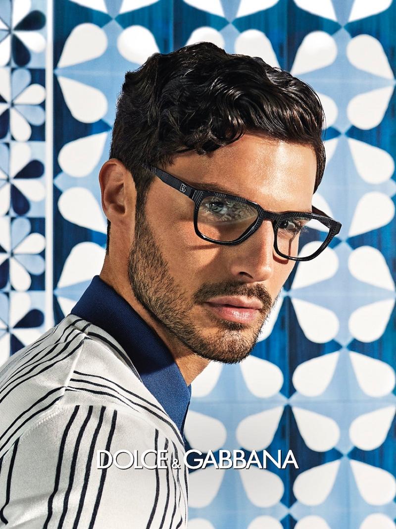 Alessio Petrazzuoli appears in Dolce & Gabbana's spring-summer 2021 men's eyewear campaign.
