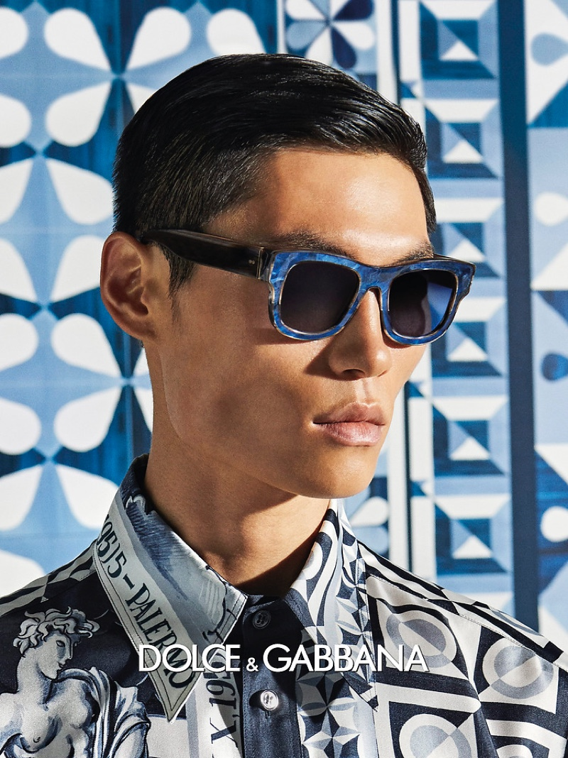 Jean Chang is a modern vision for Dolce & Gabbana's spring-summer 2021 men's eyewear campaign.