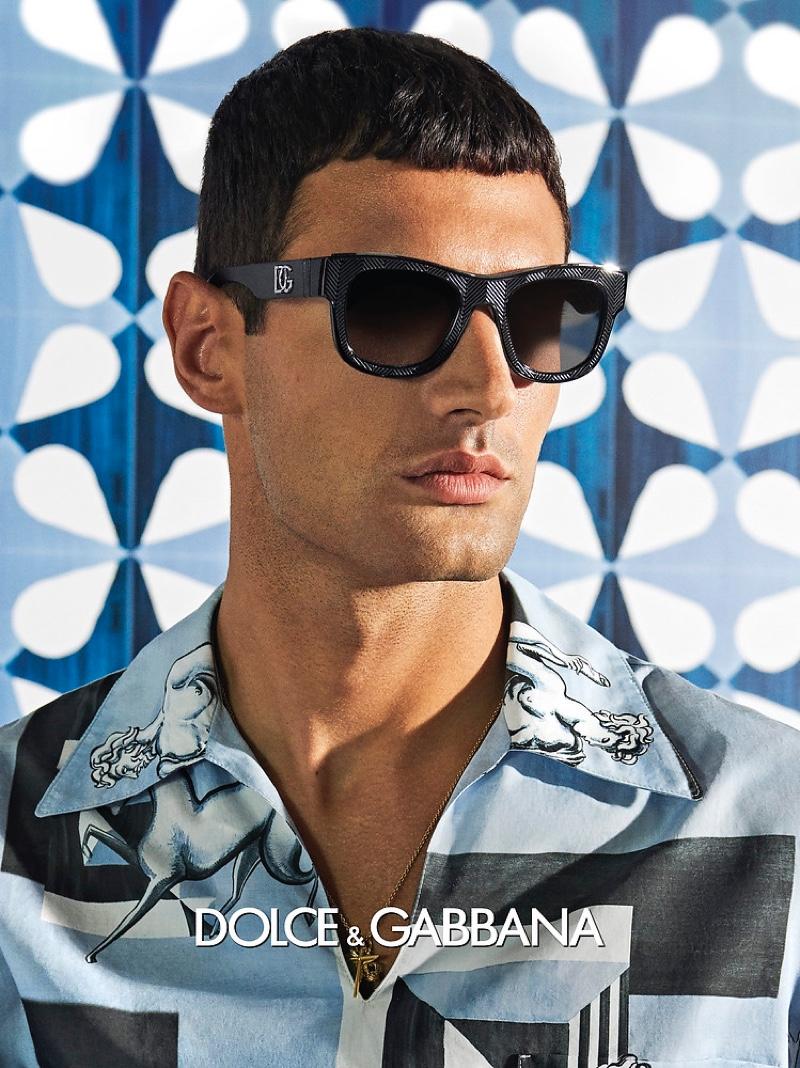 Ljubisa Grujic appears in Dolce & Gabbana's spring-summer 2021 men's eyewear campaign.