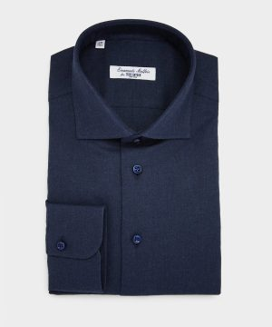 Emanuele Maffeis + Todd Snyder Solid Cotton Shirt In Navy