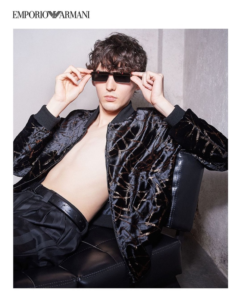 Eli Epperson channels a rock 'n' roll energy for Emporio Armani's spring-summer 2021 men's campaign.