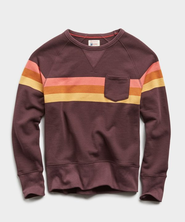 Engineered Stripe Pocket Crew in Oxblood