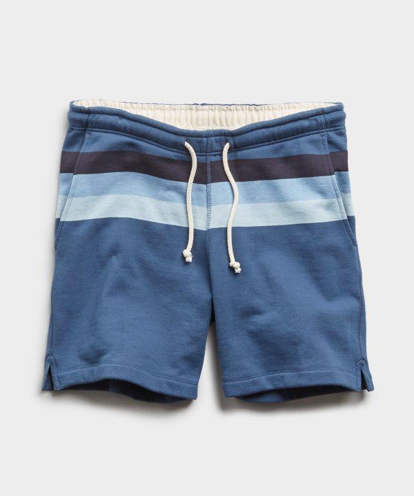 Engineered Stripe Warm Up Short in Cadet Blue