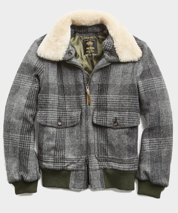 Exclusive Golden Bear + Todd Snyder Harris Tweed Faux Fur Collar Tweed Bomber