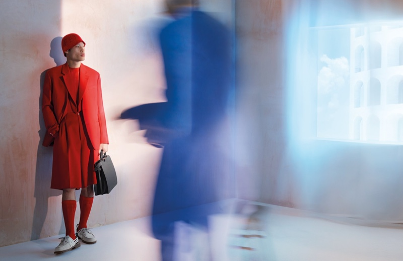 Donning a vibrant red look, Chun Soot fronts Fendi's spring-summer 2021 men's campaign.