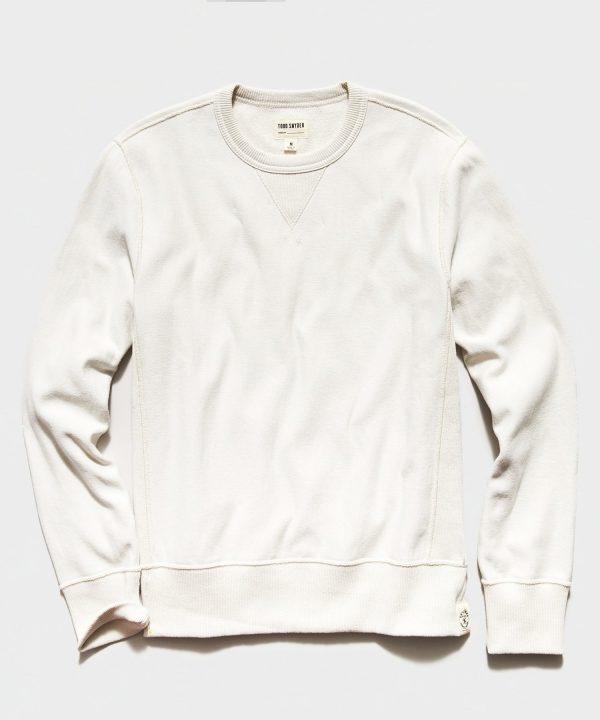 Garment Dyed Crew Sweatshirt in Alabaster