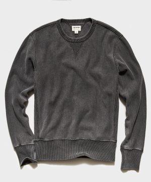 Garment Dyed Crew Sweatshirt in Black Sand