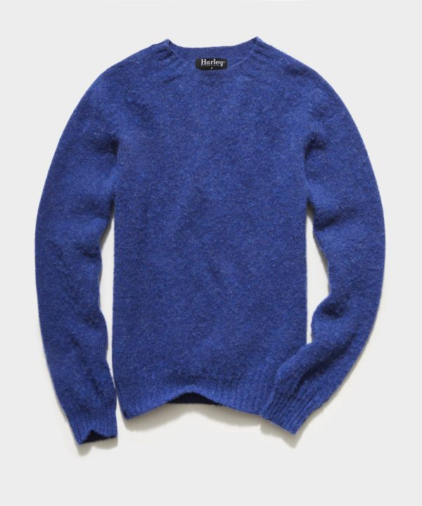 Harley Brushed Lambswool Solid Crewneck in Blue