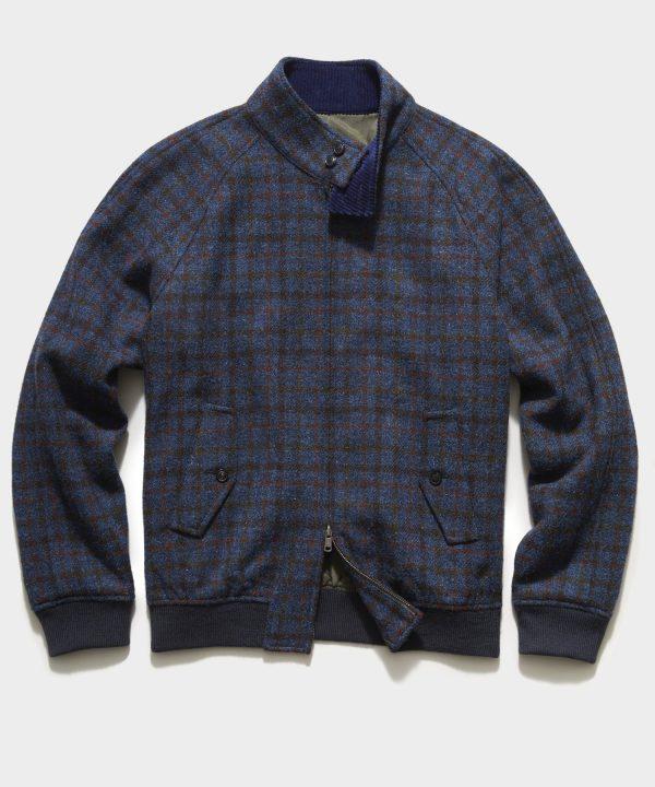 Harris Tweed Varsity Jacket in Blue