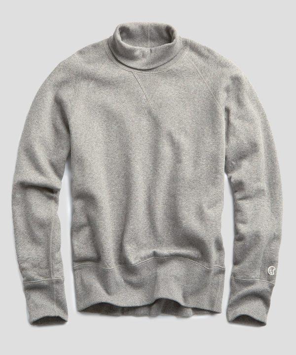 Heavyweight Turtleneck Sweatshirt in Light Grey Mix