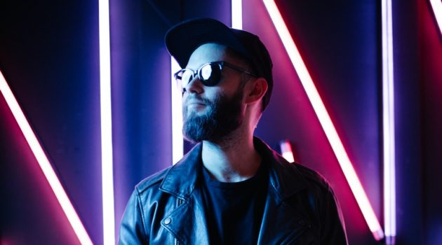Hipster Man Neon Lights Leather Jacket