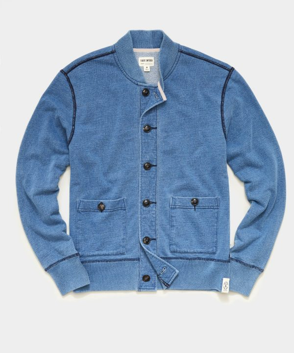 Issued By: Knit Bomber Jacket in Light Indigo