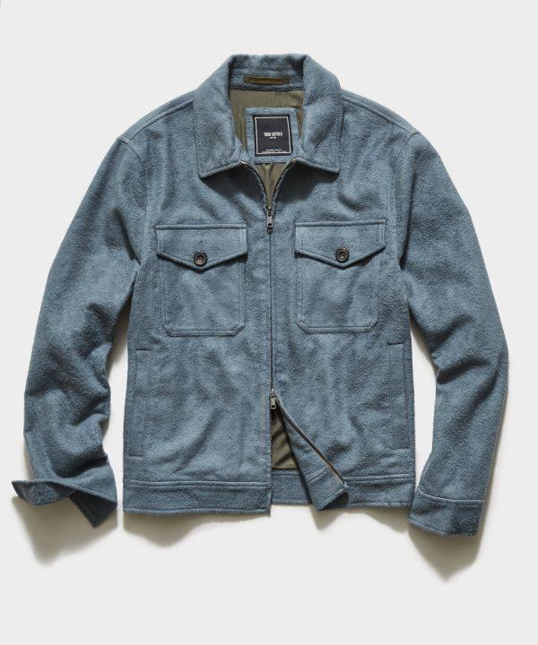Italian Boucle Zip Guide Jacket in Blue